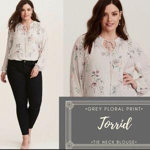 Torrid grey gray floral print smocked blouse